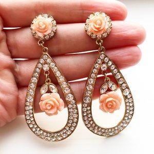 Gold, rhinestone & pink rose teardrop earrings